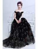Off The Shoulder Black Prom Dress Long With Lace Sequi Skirt