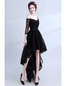 High Low Black Lace Prom Dress Sleeved With Spaghetti Straps