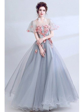 Grey With Pink Floral Long Prom Dress With Short Puffy Sleeves