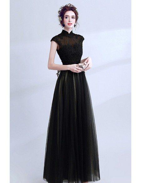Modest Black Lace Beaded Formal Dress Cap Sleeves Floor Length