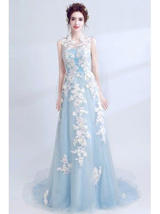 Gorgeous Sleeveless Blue Long Prom Dress With Color Applique
