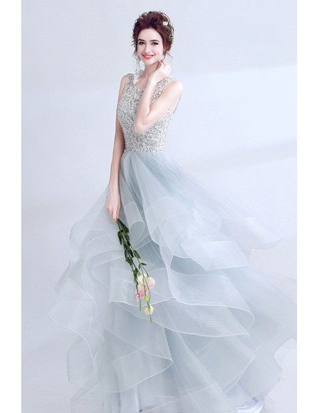 Sparkly Grey Ball Gown Prom Dress Long With Open Back