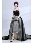 Unique Strapless Black Long Prom Dress Ball Gown With Grey Lace