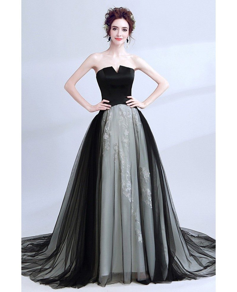 Unique Strapless Black Long Prom Dress Ball Gown With Grey Lace Wholesale T69384 Gemgracecom