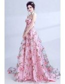 Fairy Pink Floral Printed Prom Dress Strapless Long For Teens
