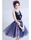 V-neck Navy Blue Lace Short Prom Dress With Pink Beaded Florals