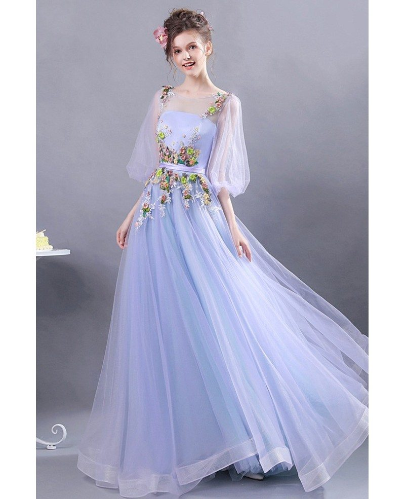 good service outlet store detailed images Fairy Lavender Tulle Floral Prom Dress With Puffy Sleeves ...
