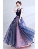 Gorgeous Dark Navy Blue Floral Prom Dress Long With Ballroom Skirt