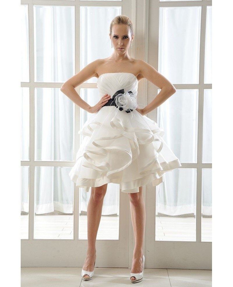 Wedding Gowns With Ruffles: Ivory Short Wedding Dress Tutu With Color A-Line Strapless