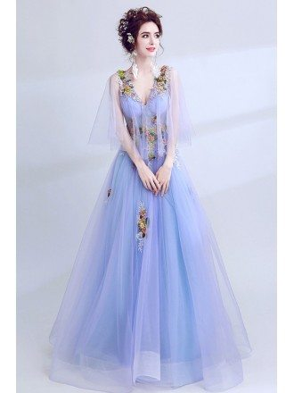 Beautiful Lavender Cape Sleeve Prom Dress V Neck With Colorful Flowers