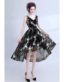 Mesh Black With White Lace Prom Dress Sleeveless In High Low Style