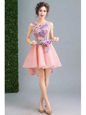 Hi Lo Cute Pink Short Prom Party Dress With Embroidery Flowers