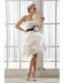A-Line Strapless Short Organza Wedding Dress With Cascading Ruffles Flowers Bow