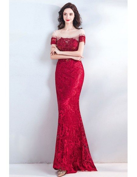 Classy Long Lace Burgundy Formal Prom Dress With Short Sleeves