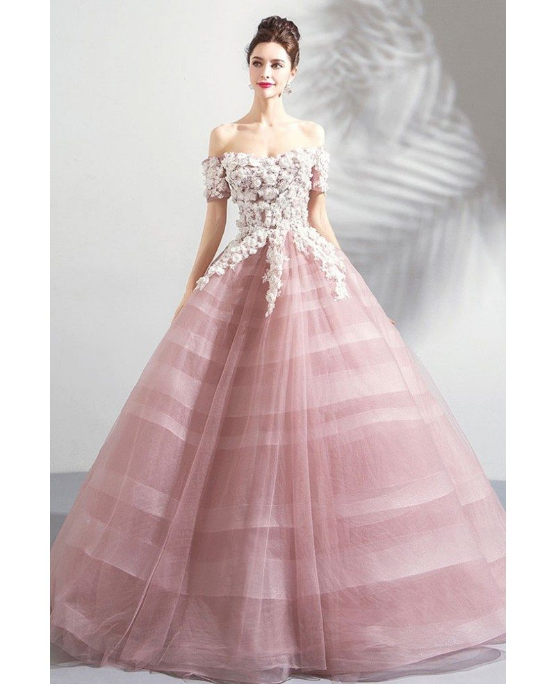 Pink Floral Ball Gown Formal Prom Dress