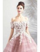 Fairy Pink Floral Ball Gown Formal Prom Dress Off Shoulder