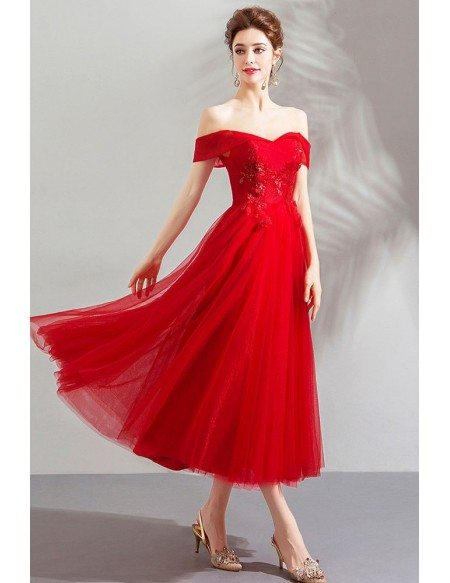 Gorgeous Red Off Shoulder Tulle Tea Length Party Dress Formal