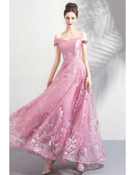 Unique Pink Lace Off Shoulder Maxi Prom Party Dress A Line