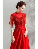 Elegant Long Red A Line Formal Dress With Tassel Sleeves