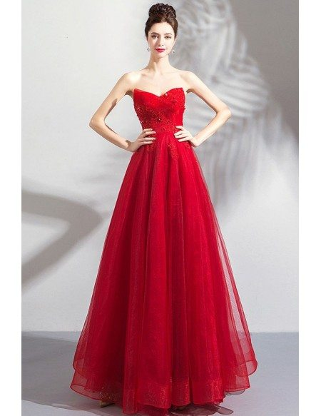 Classy Formal Long Red Strapless Tulle Affordable Prom Dress