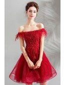 Pretty Red Beaded Off Shoulder Short Poofy Prom Dress Lace Up
