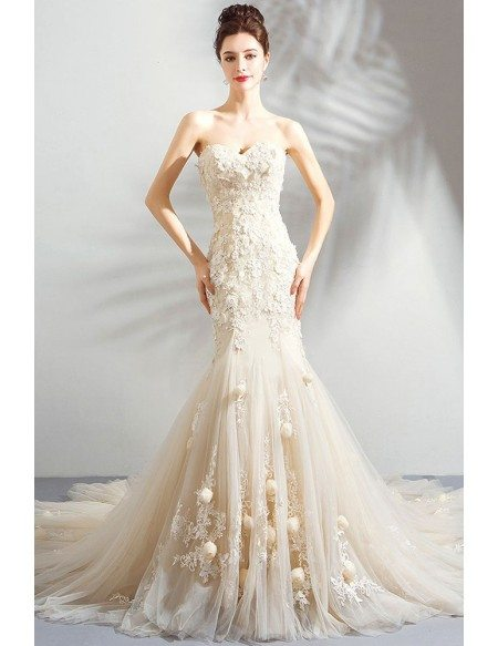 Unique Fairy Light Champagne Mermaid Wedding Dress Strapless With Train