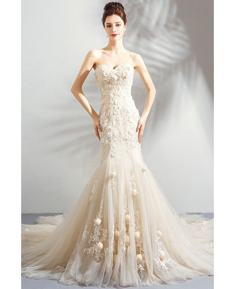 Wedding Gowns Mermaid: Unique Fairy Light Champagne Mermaid Wedding Dress