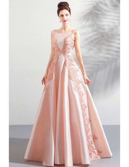 Stunning Blush Pink Long Formal Satin Prom Dress Sleeveless