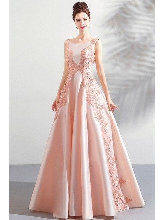 Stunning Blush Pink Long Formal Satin Prom Dress Sleeveless