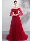 Flowy Burgundy Red Long Tulle Prom Dress With Off Shoulder Sleeves