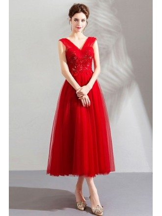 Simple V-neck Tulle Burgundy Tea Length Wedding Party Dress Sleeveless