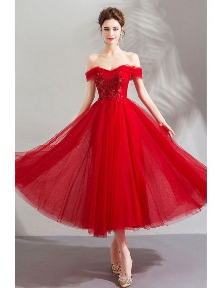 Gorgeous Red Off Shoulder Flowy Tulle Prom Dress For Party