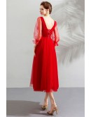 Elegant Tea Length Tulle Wedding Party Dress With Sheer Sleeves
