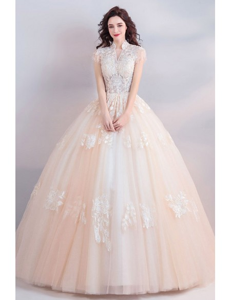Unique Collar Lace Champagne Ball Gown Wedding Dress Princess