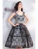 Vintage Chic Black Lace Tulle Ball Gown Short Party Dress