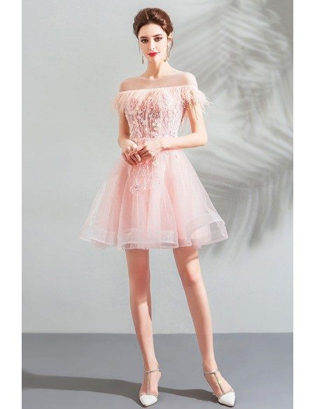 Off Shoulder Poofy Short Pink Tulle Prom Dress With Tassel