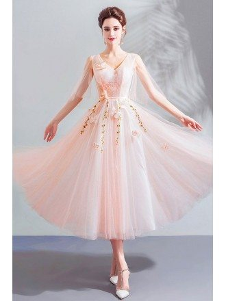 Beautiful Fairy Pink Tulle Tea Length Party Dress V-neck