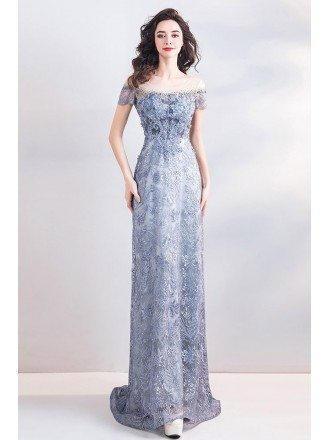 Classy Blue Long Lace Empire Formal Dress With Sleeves