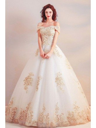 Luxury Gold Embroidery Ball Gown Wedding Dress Off Shoulder