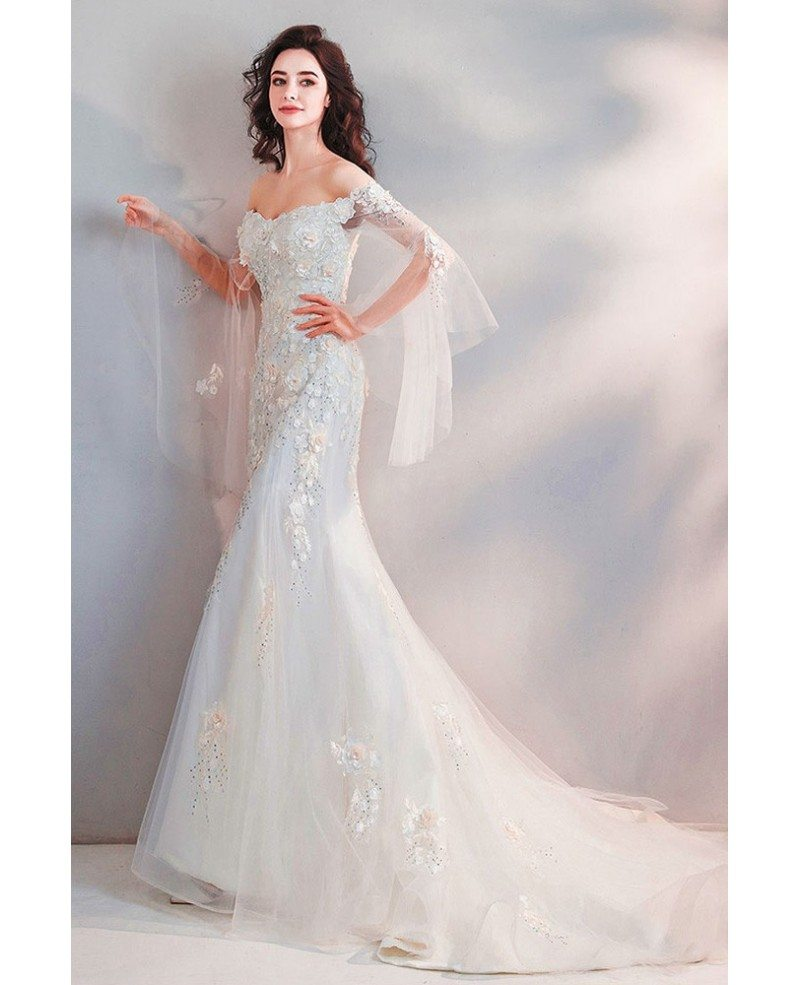Mermaid Wedding Dresses With Sleeves: Fairy Mermaid Long White Tulle Wedding Dress With