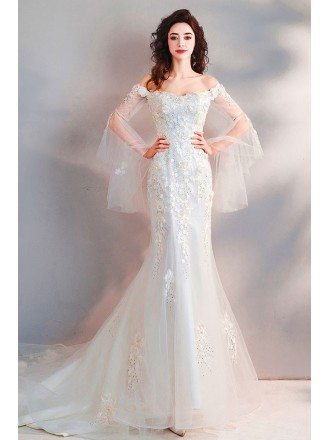 Fairy Mermaid Long White Tulle Wedding Dress With Appliques Sleeves