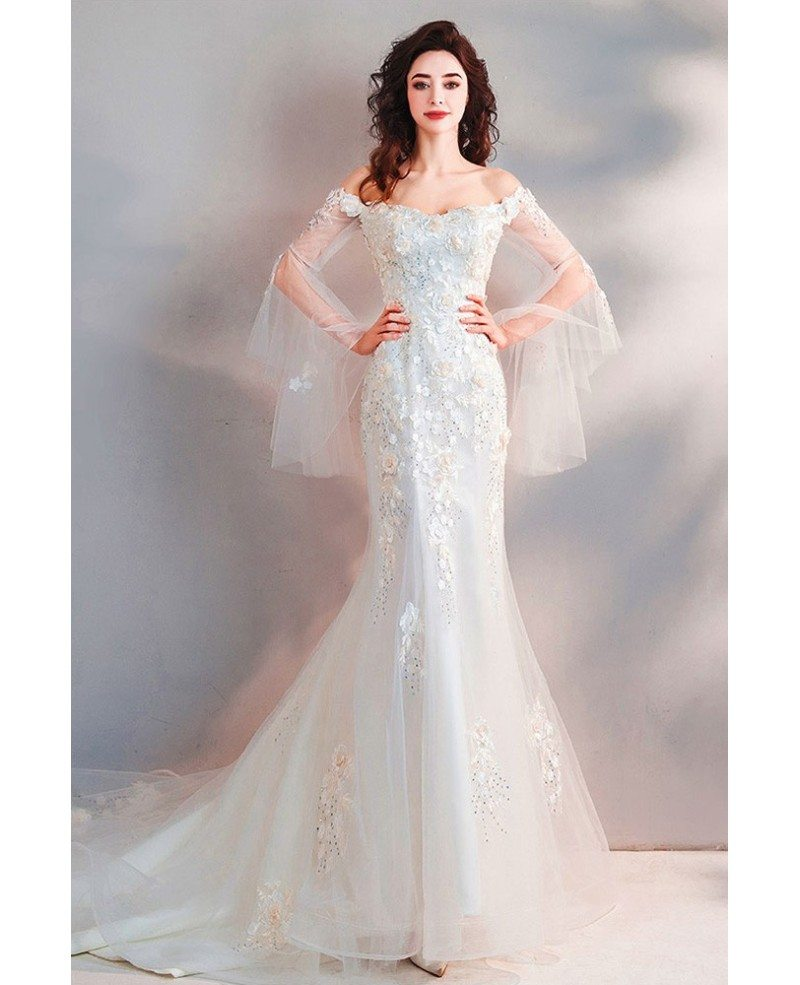 Cheap White Ivory Wedding Dresses Mermaid Lace Appliques: Fairy Mermaid Long White Tulle Wedding Dress With