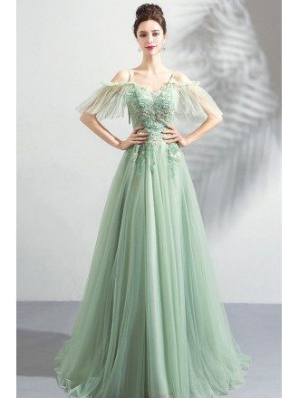 Flowy Green Long Tulle Formal Prom Dress Classy With Straps