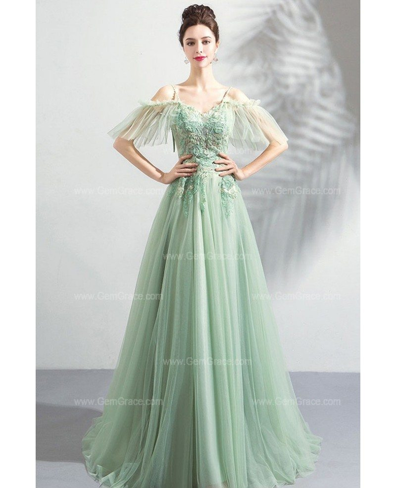 Flowy Green Long Tulle Formal Prom Dress