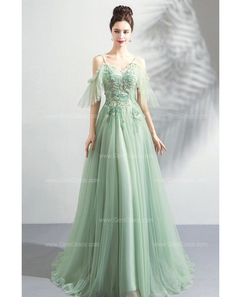 Flowy Green Long Tulle Formal Prom Dress Classy With