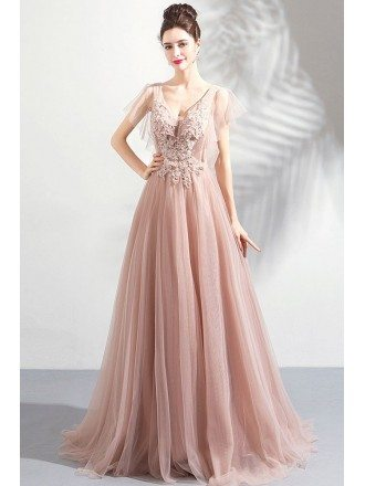 Beautiful Fairy Long Tulle V-neck Prom Dress With Open Back