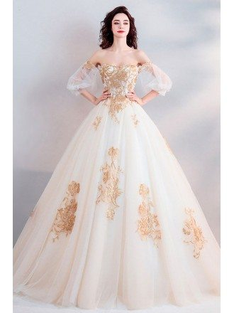 Classic Gold With White Ball Gown Princess Wedding Dress Off Shoulder