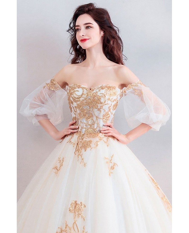 Classic Gold With White Ball Gown Princess Wedding Dress