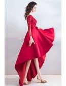 Pretty High Low Lace Satin Prom Dress With Long Sleeves