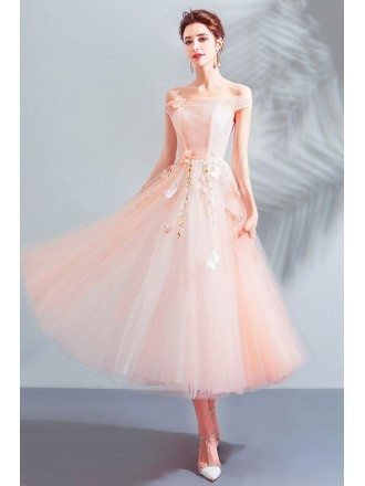 Gorgeous Pink Off Shoulder Tulle Tea Length Party Dress With Butterflies